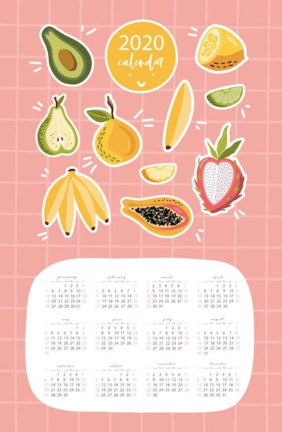 果物のカレンダー2020テンプレート。 Premiumベクター