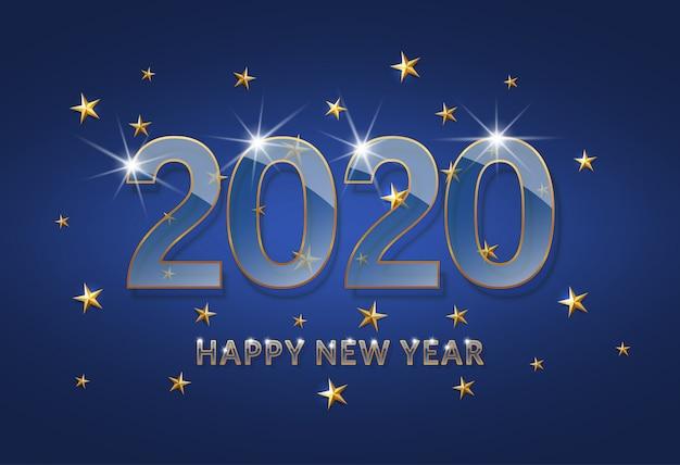 新年あけましておめでとうございます2020。暗い青色の背景に金色のアウトラインを持つ透明なガラスフォント。 Premiumベクター