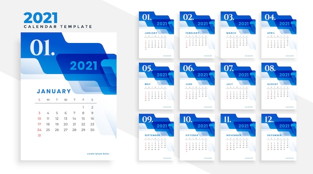 2021 blue business calendar template with abstract shapes Free Vector