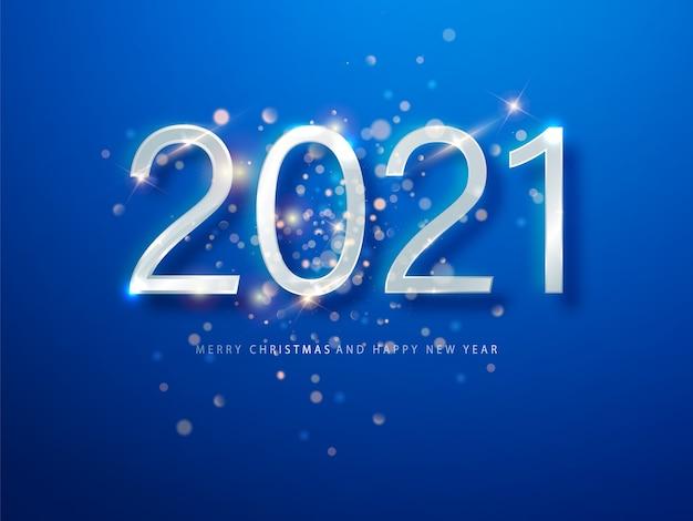 2021年のブルークリスマス、新年の背景。新年あけましておめでとうございます2021年のグリーティングカードまたはポスター。ウェブのイラスト。 無料ベクター