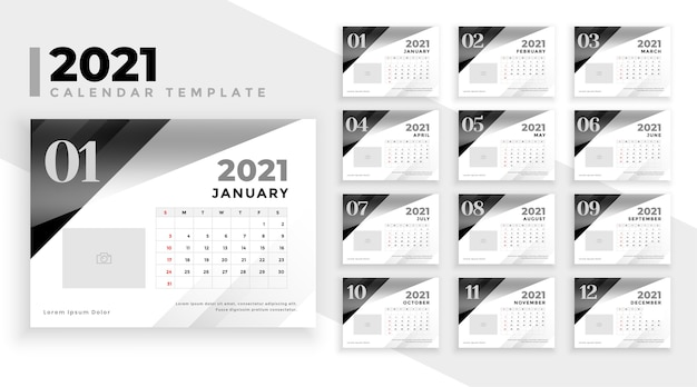 2021 calendar in black and white Free Vector