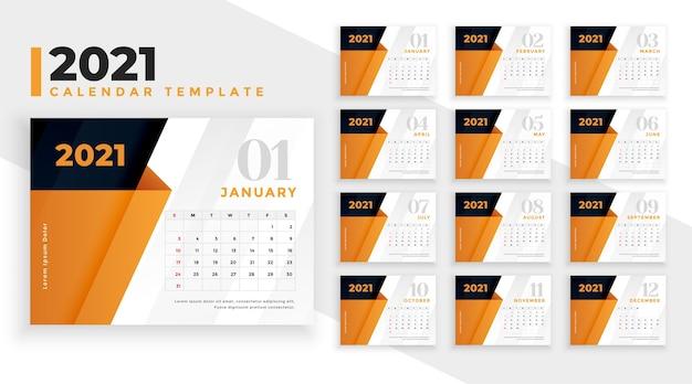 Modello di progettazione del calendario 2021 con forme geometriche arancioni Vettore gratuito