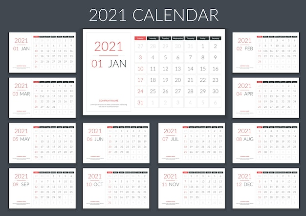 2021 calendar, planner, 12 pages, week starts on sunday Premium Vector
