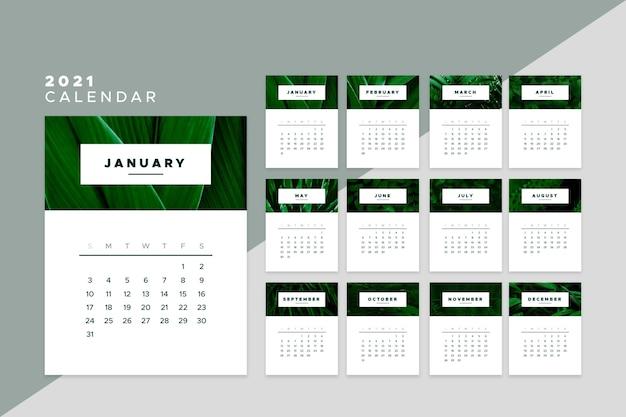 Дизайн шаблона календаря на 2021 год Бесплатные векторы