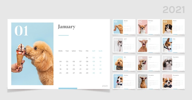 2021 calendar template with cute animals Premium Vector