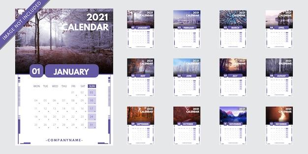 Шаблон календаря 2021 Бесплатные векторы