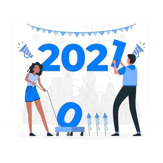 2021 концептуальная иллюстрация Бесплатные векторы