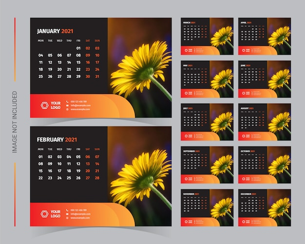 2021 desk calendar template set Premium Vector