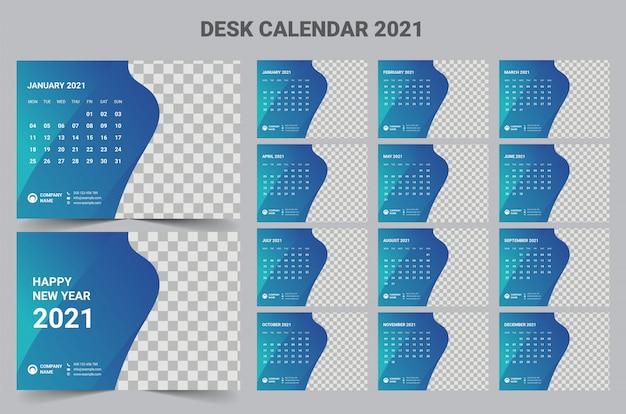 2021 desk calendar template Premium Vector