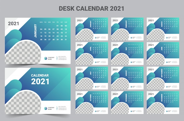 2021 desk calendar template Premium Vector