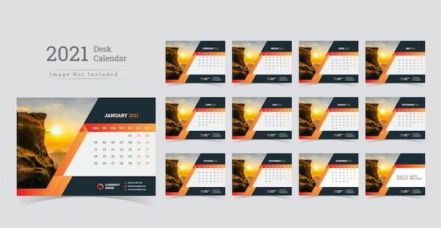 2021 desk calendar, week start on monday. Premium Vector