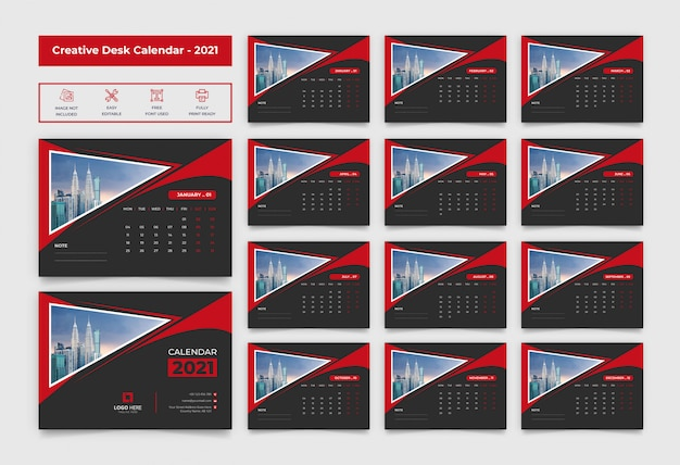 2021 desk calendar with black and red color Premium Vector