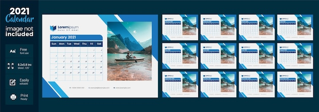 2021 desk calendar with blue layout Premium Vector