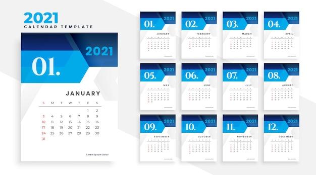 2021 geometric style modern blue business calendar design Free Vector