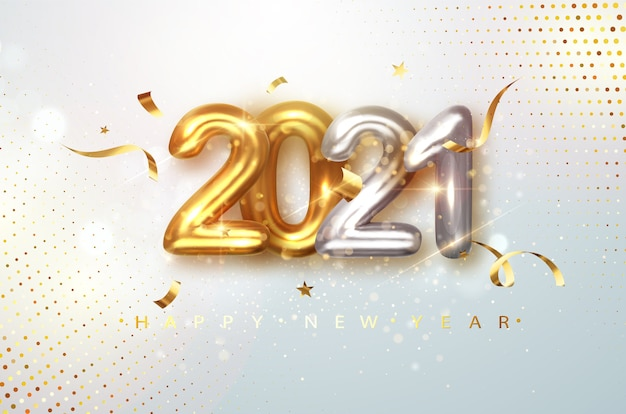 2021 gold and silver realistic numbers on light festive glitter background Premium Vector