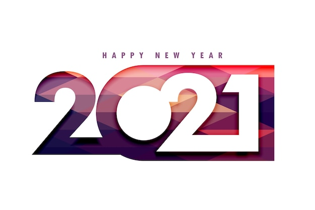 2021 happy new year 3d papercut style background Free Vector