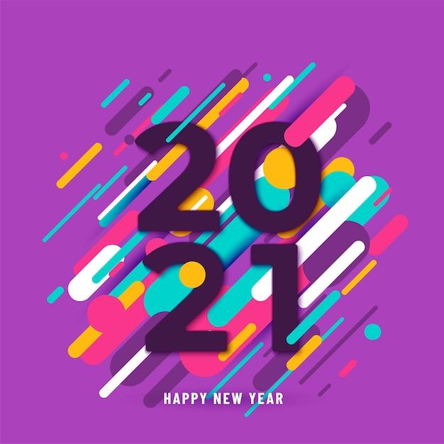 2021 с новым годом фон с большими числами и абстрактными линиями Бесплатные векторы