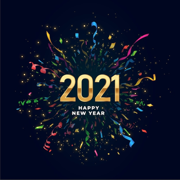 2021 happy new year background with confetti burst Free Vector