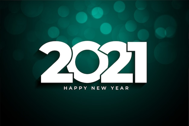 2021 happy new year bokeh background celebration Free Vector