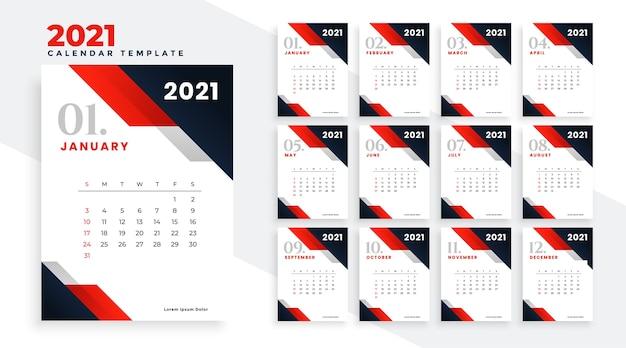 빨간색 비즈니스 스타일의 2021 해피 뉴 이어 캘린더 디자인 무료 벡터