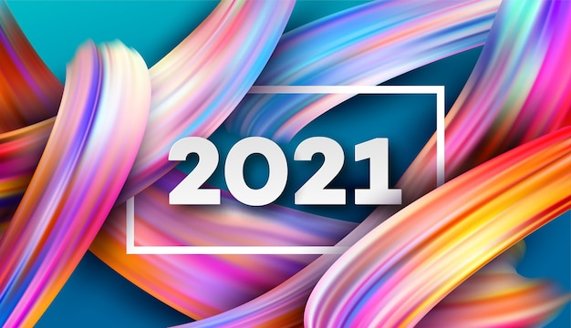 2021 happy new year color flow background. Premium Vector
