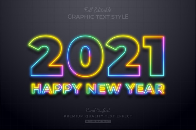 2021 happy new year colorful neon editable text effect font style Premium Vector