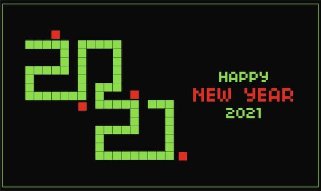 스네이크 게임 디자인 및 픽셀 텍스트 효과가 적용된 2021 새해 복 많이 받으세요 게임 카드 무료 벡터