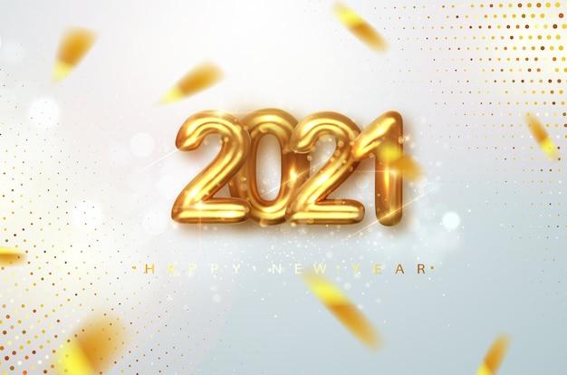 2021年明けましておめでとうございます。グリーティングカードのゴールドデザインのメタリックナンバーは2021年のものです。明るい背景に2021年の数字で新年あけましておめでとうございますバナー。 Premiumベクター