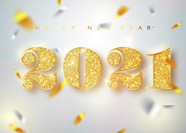 2021 새해 복 많이 받으세요. 떨어지는 반짝이 색종이의 인사말 카드의 골드 숫자 디자인. 프리미엄 벡터