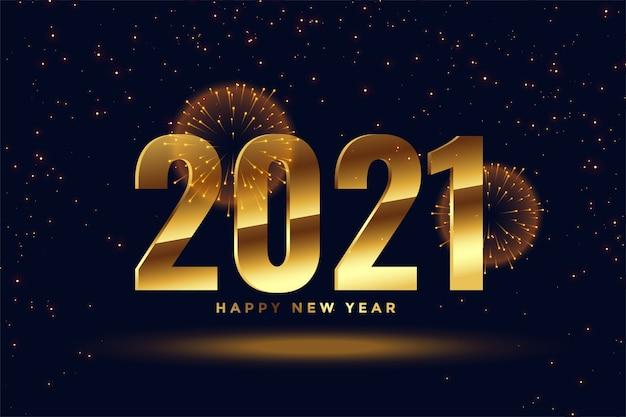 2021 happy new year golden celebration fireworks background Free Vector
