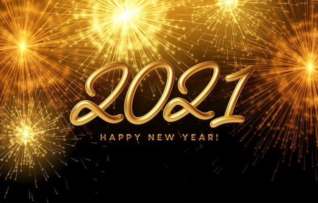 2021 happy new year golden shiny inscription on the background with bright burning fireworks ...