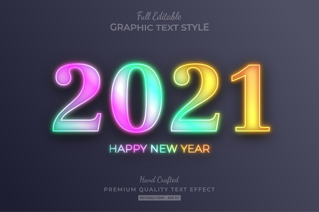 2021 happy new year gradient holographic editable text effect font style Premium Vector