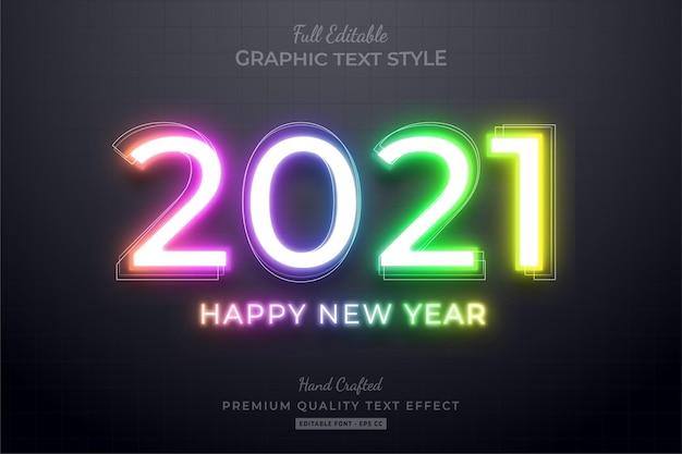 2021 happy new year gradient neon editable text effect font style Premium Vector