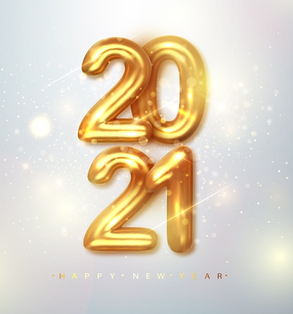 2021 happy new year. happy new year banner with gold metallic numbers date 2021 Free Vector