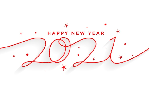 2021 happy new year line style lettering background Free Vector