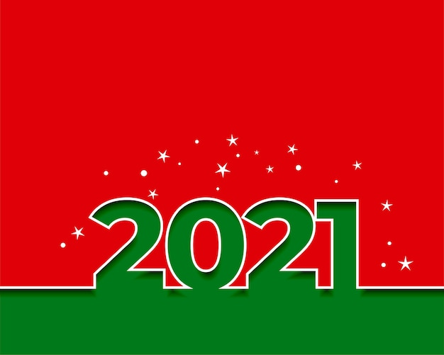 2021 happy new year red and green background Free Vector