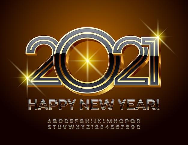 2021 새해 복 많이 받으세요. 반짝이는 검정색과 금색 글꼴. 프리미엄 크리에이티브 알파벳 문자 및 숫자 세트 프리미엄 벡터