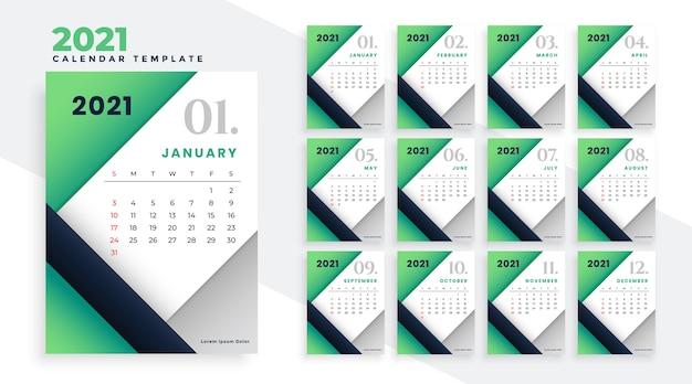 2021年明けましておめでとうございますスタイリッシュな緑のカレンダーデザイン 無料ベクター
