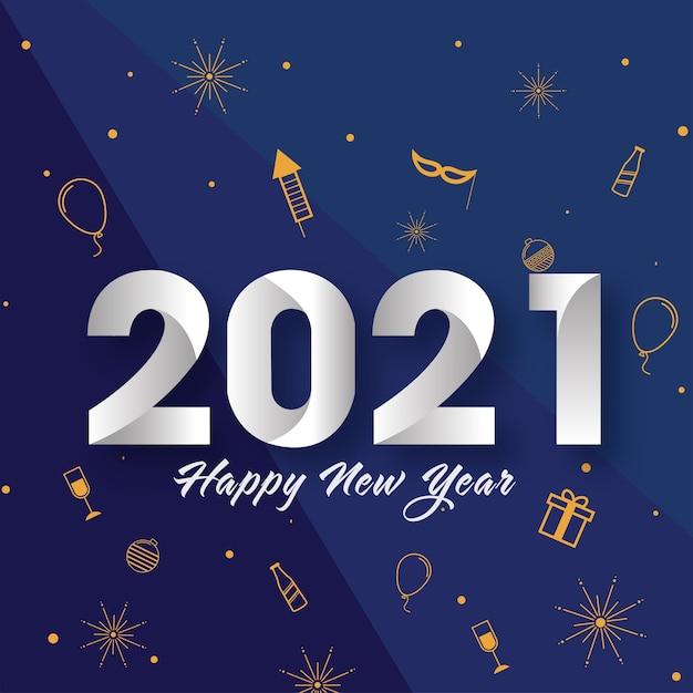 Текст с новым годом 2021 с партийными иконами, украшенными на синем фоне Premium векторы