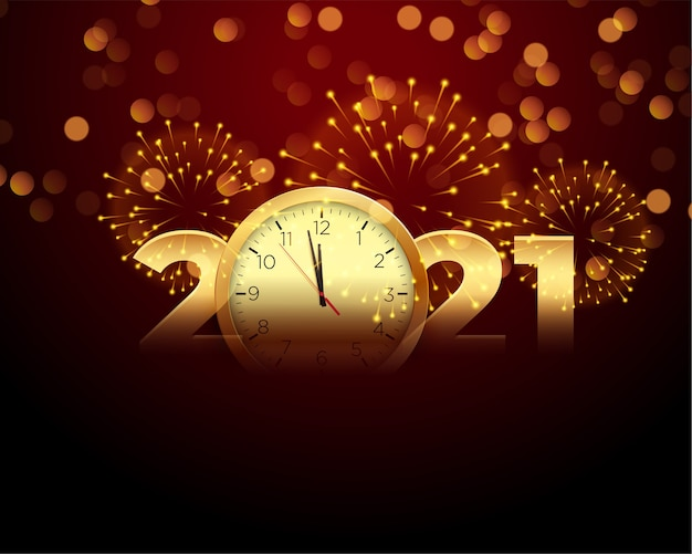 2021 happy new year with clock and firework background Free Vector