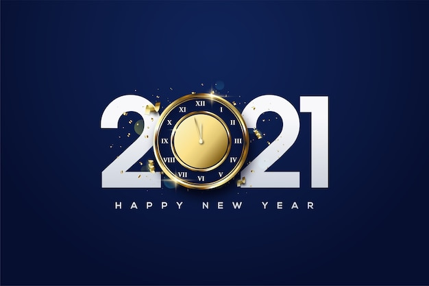 2021 happy new year with white numbers and golden hours. Premium Vector