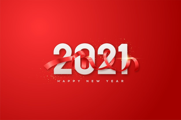 2021 happy new year with white numbers and a red ribbon covering the numbers. Premium Vector