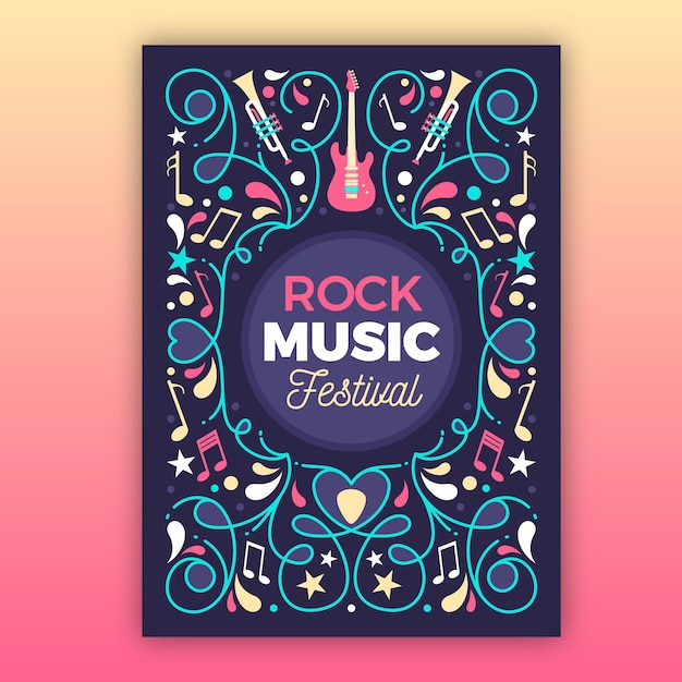 2021 illustrated music festival flyer Free Vector