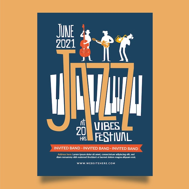 2021 иллюстрированный плакат фестиваля музыки Бесплатные векторы