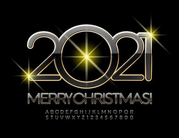 2021 메리 크리스마스. 세련된 검정색과 금색 글꼴. 고급 알파벳 문자와 숫자 프리미엄 벡터