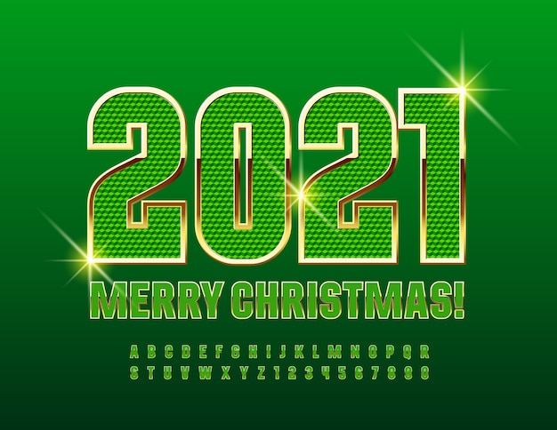 2021 메리 크리스마스. 질감 녹색 및 금색 글꼴. 풍부한 스타일의 알파벳 문자와 숫자 세트 프리미엄 벡터