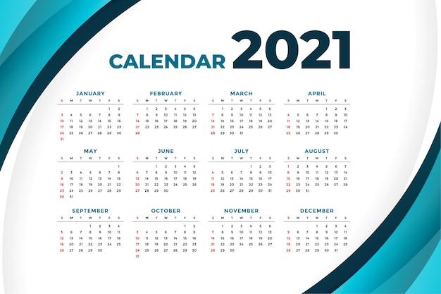 Free Vector   2021 modern calendar with curve shape