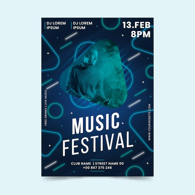 2021 шаблон постера музыкального события с фотографией Бесплатные векторы