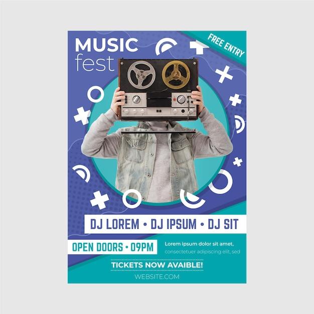 2021 шаблон постера музыкального события Бесплатные векторы