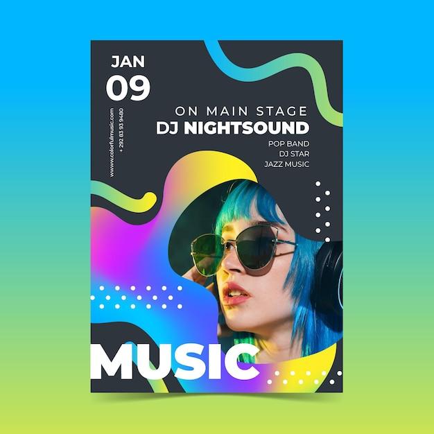 Афиша музыкального события 2021 с фотографией Бесплатные векторы